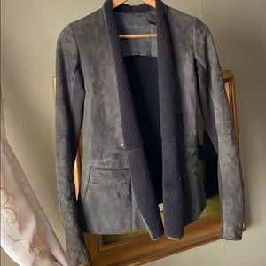 Rick Owens Dark Dust shearling leather jacket US8